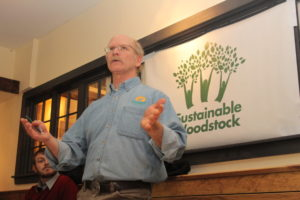Doc Bagley of Catamount Solar speaking at a Sustainable Woodstock presentation on our Solarize project.