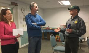Doc speaks with homeowners at the Hartland Launch