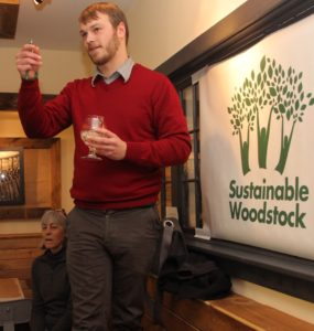 Solarize program coordinator Zach Ralph speaking at Green Drinks event in 2014.