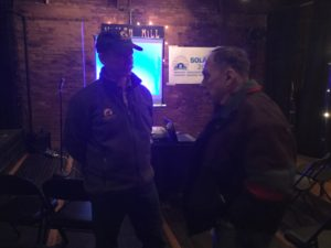 Doc speaks with homeowner at Bridgewater launch