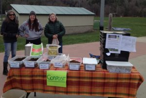 Vikke Jas (r) with her compost display is joined by Dolores   Gilbert (l) and Ana Dinatale at a recent Sustainable Woodstock event.