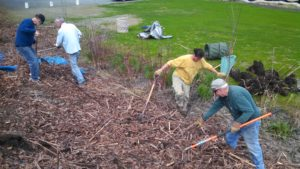 Local volunteers help clean up the Riverfront Park in Spring 2016.