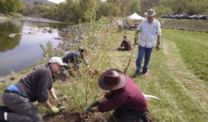 Volunteers work in the riparian buffer during a 2016 workday at the East End.