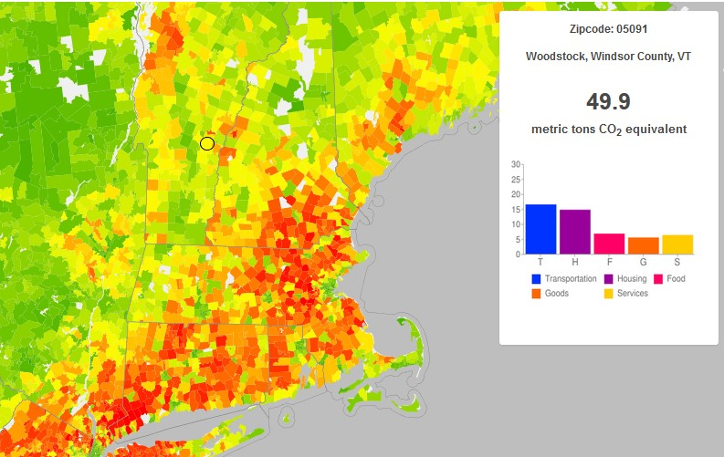 Woodstock's average household carbon footprint as calculated on the CoolClimate interactive map.
