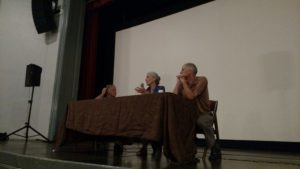 Filmmakers Alan Dater, Lisa Mertons, and Chris Hardee answer questions during a panel discussion.